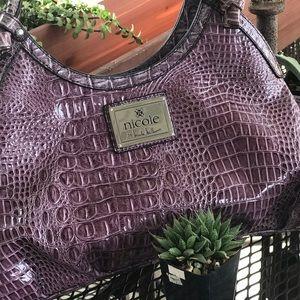 Nicole Miller Purple Croc Embossed Bag